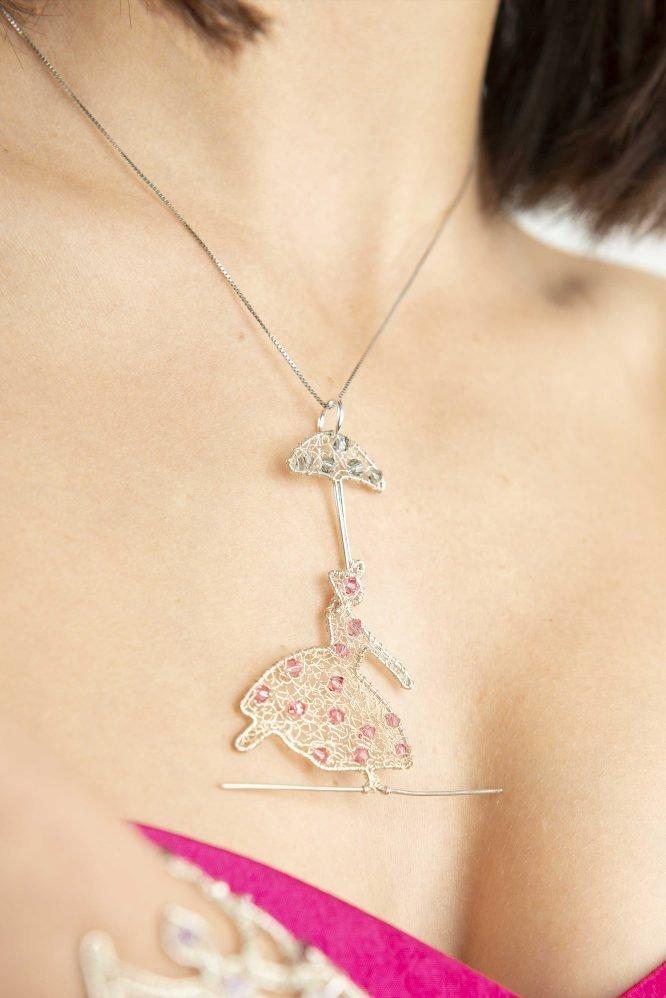 Funambola con l'ombrellino - Ciondolo per collana con cristalli Swarovski